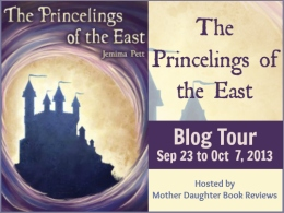 Princelings of the East - Button 1 - Beige background and Purple letters